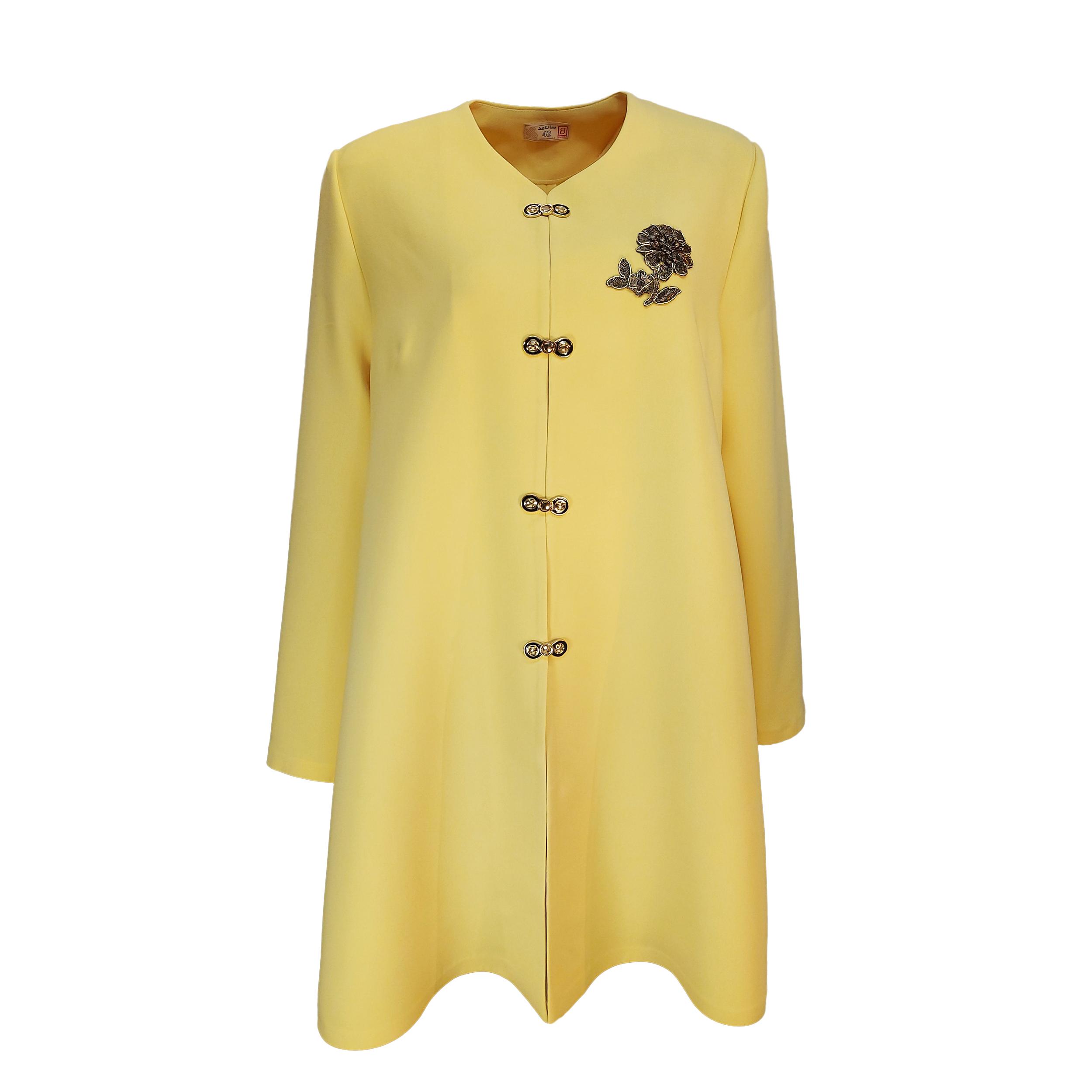 مانتو زنانه سان مد کد SM200_KNZ_SR_SG رنگ زرد