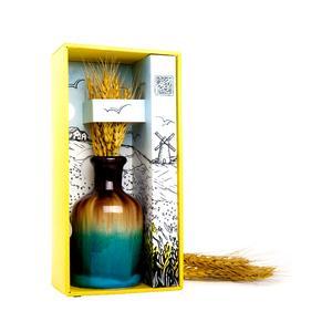 ست هدیه آرا هنر فاخر ایرانی مدل گل گندم بسته گلدان سفالی و گندم خشک تزئینی