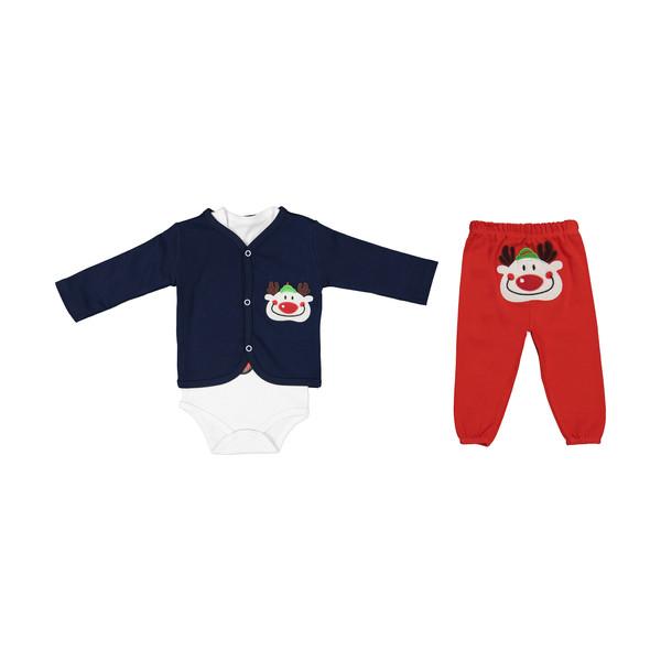 ست 3 تکه لباس نوزادی بی بی وان مدل دلقک کد 421