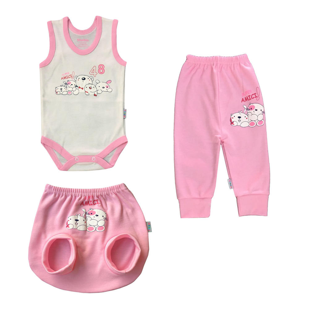 ست 3 تکه لباس نوزادی دخترانه شاهین طرح امیکی کد L