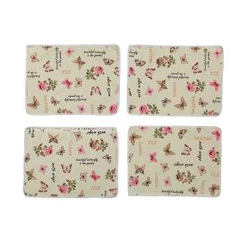 دستمال آشپزخانه طرح گل و پروانه بسته 4 عددی