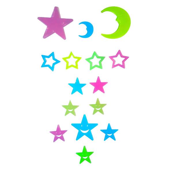 استیکر دیواری کودک طرح ماه و ستاره شب تاب کد 4MS بسته 15 عددی