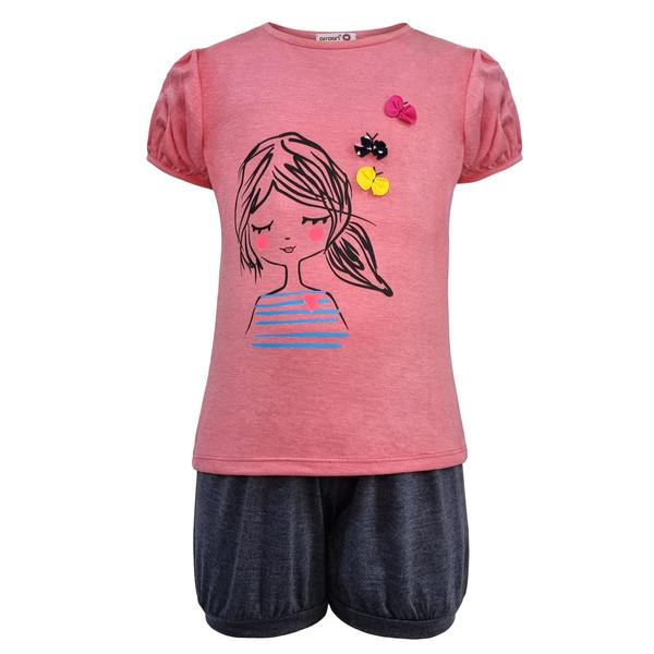 ست تی شرت و شلوارک دخترانه افراتین مدل دختر و پروانه رنگ صورتی