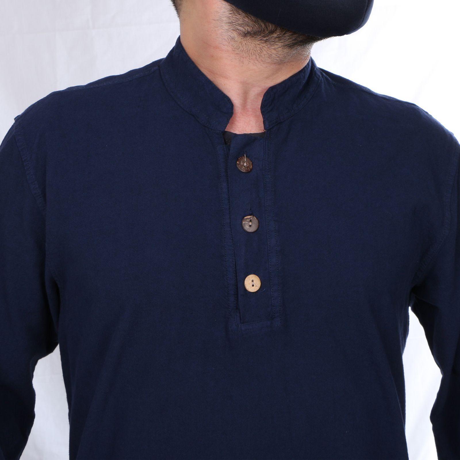 پیراهن آستین بلند مردانه کد P.3D.S.04 رنگ سرمه ای -  - 4