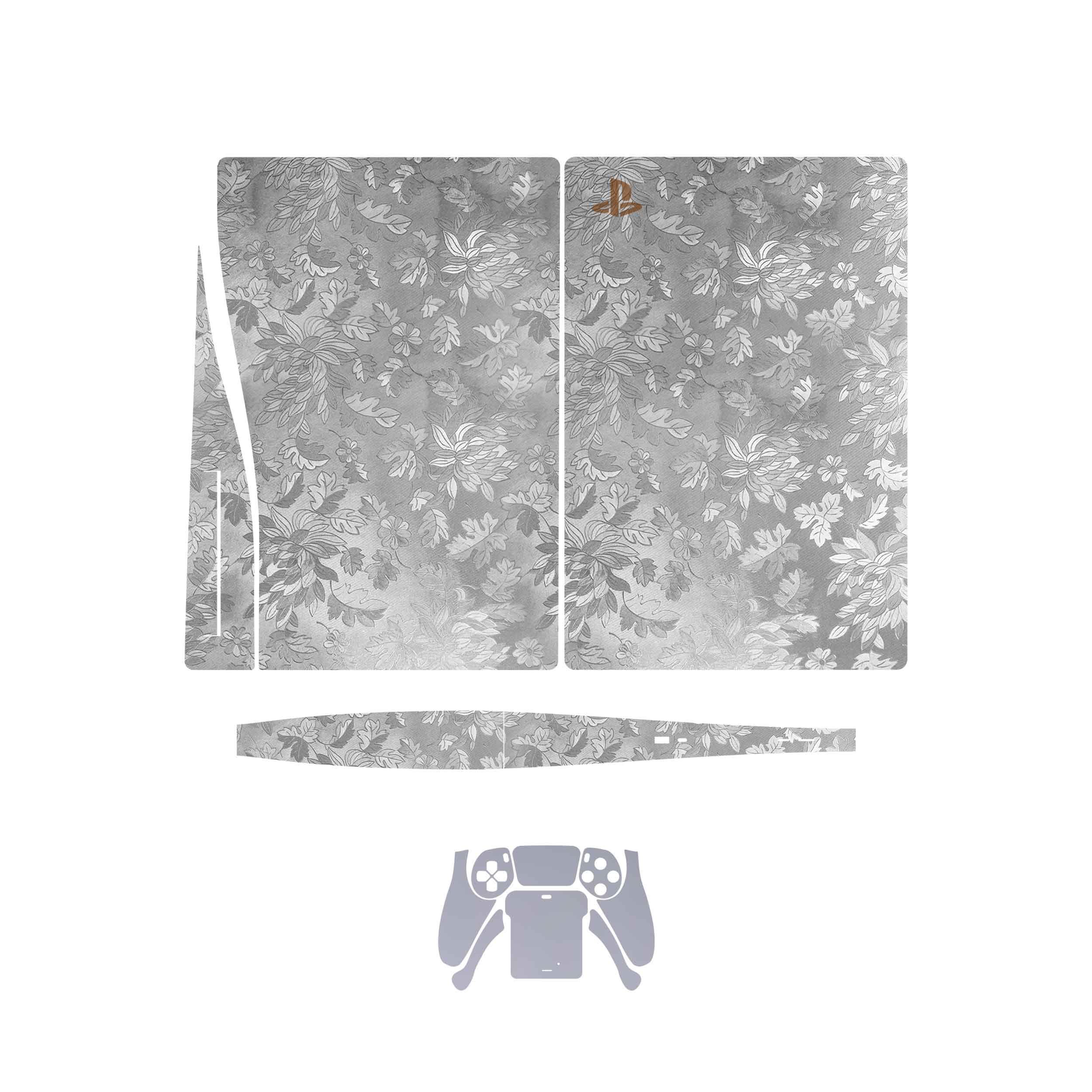 بررسی و {خرید با تخفیف}                                     برچسب کنسول و دسته بازی PS5 ماهوت مدل  Silver_Wildflower_Matte_Silver                             اصل