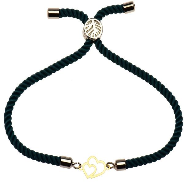 دستبند طلا 18 عیار دخترانه کرابو طرح دو قلب مدل Krd1130