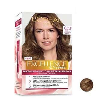 کیت رنگ مو لورآل مدل Excellence شماره 6.03 حجم 50 میلی لیتر رنگ قهوه ای روشن