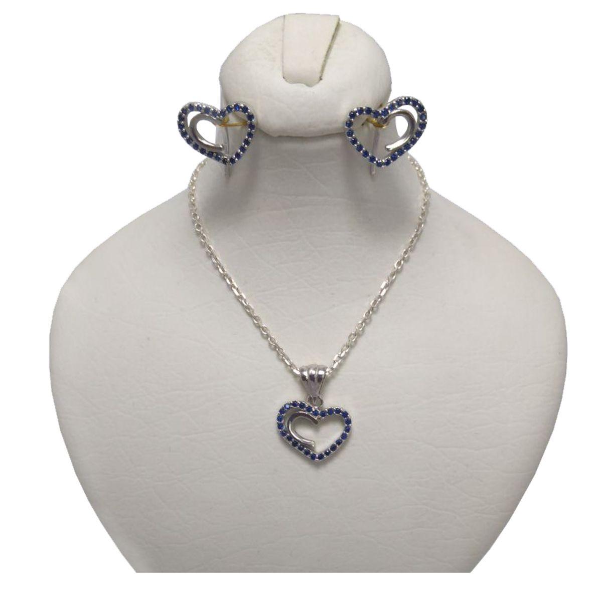 نیم ست نقره زنانه طرح قلب کد M1002