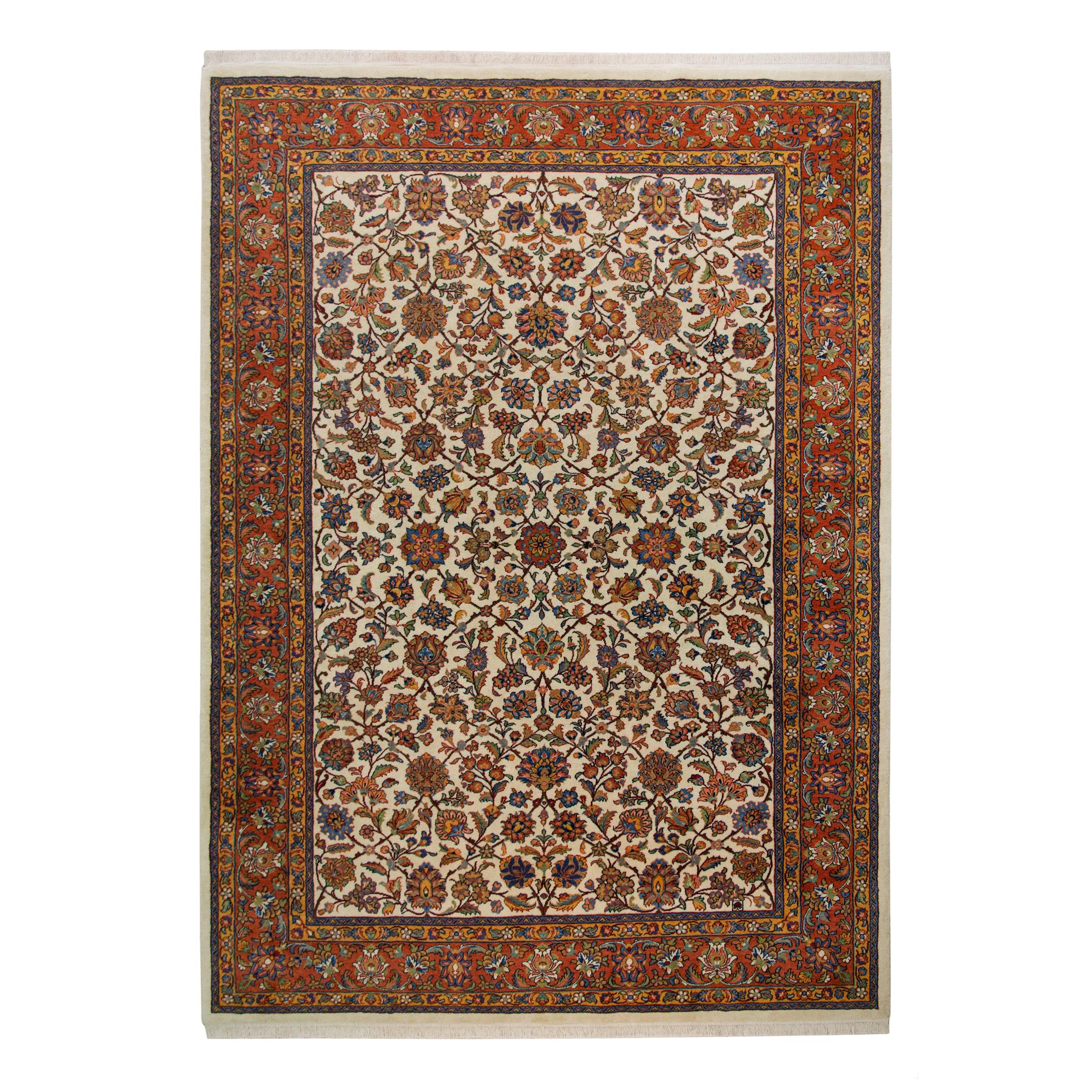 فرش دستباف شش و نیم متری فرش فراهان مدل لچک و ترنج کد 121374
