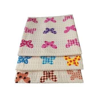 دستمال آشپزخانه طرح پروانه مجموعه 3 عددی