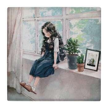 کاشی کارنیلا طرح نقاشی دختر بچه و گلدان های پشت پنجره کد wk4731