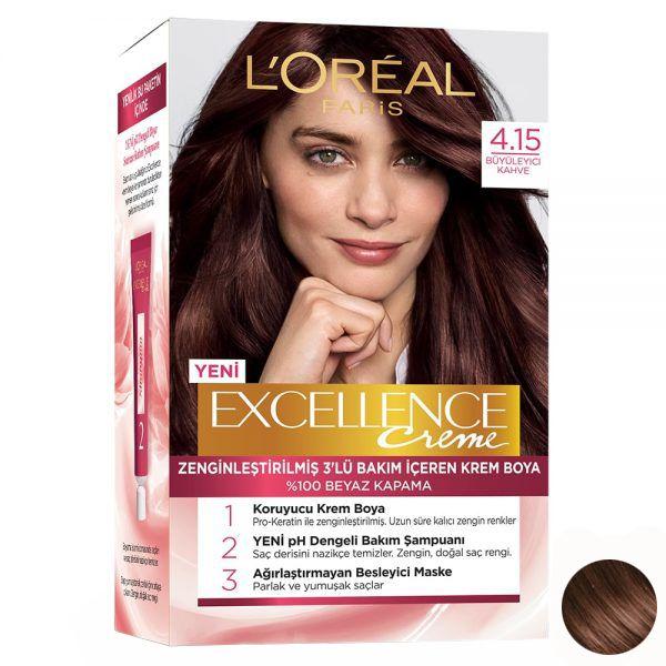 کیت رنگ مو لورآل مدل Excellence شماره 4.15 حجم 48 میلی لیتر رنگ قهوه ای ماهاگونی