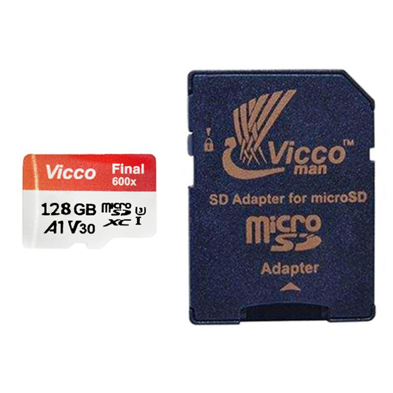 کارت حافظه microSDHC ویکومن مدل Final 600X Plus کلاس 10 استاندارد UHS-I U3 سرعت 90MBps ظرفیت 128 گیگابایت به همراه آداپتور SD
