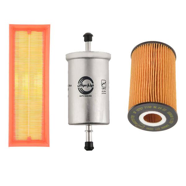 فیلتر روغن خودرو سرکان مدل 7110 به همراه فیلتر هوا و بنزین