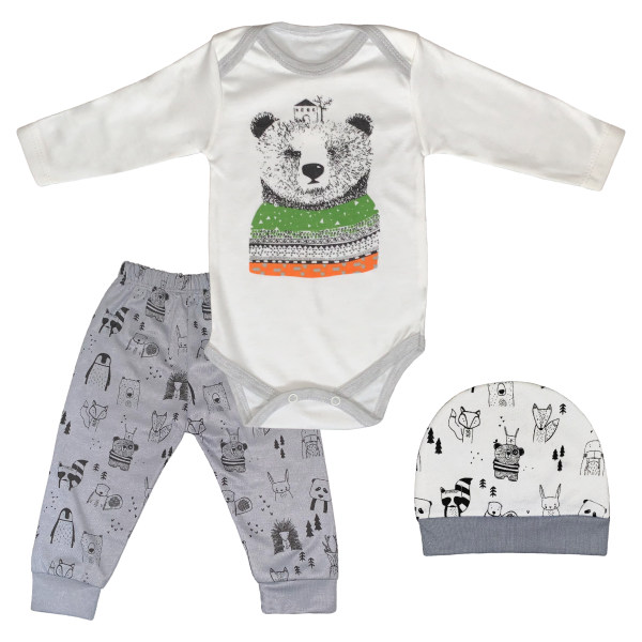 ست 3 تکه لباس نوزادی طرح پاندا کد FF-139