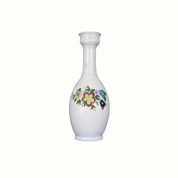 گلدان سفالی نقاشی رولعابی  سفید طرح گل مدل 1015800008
