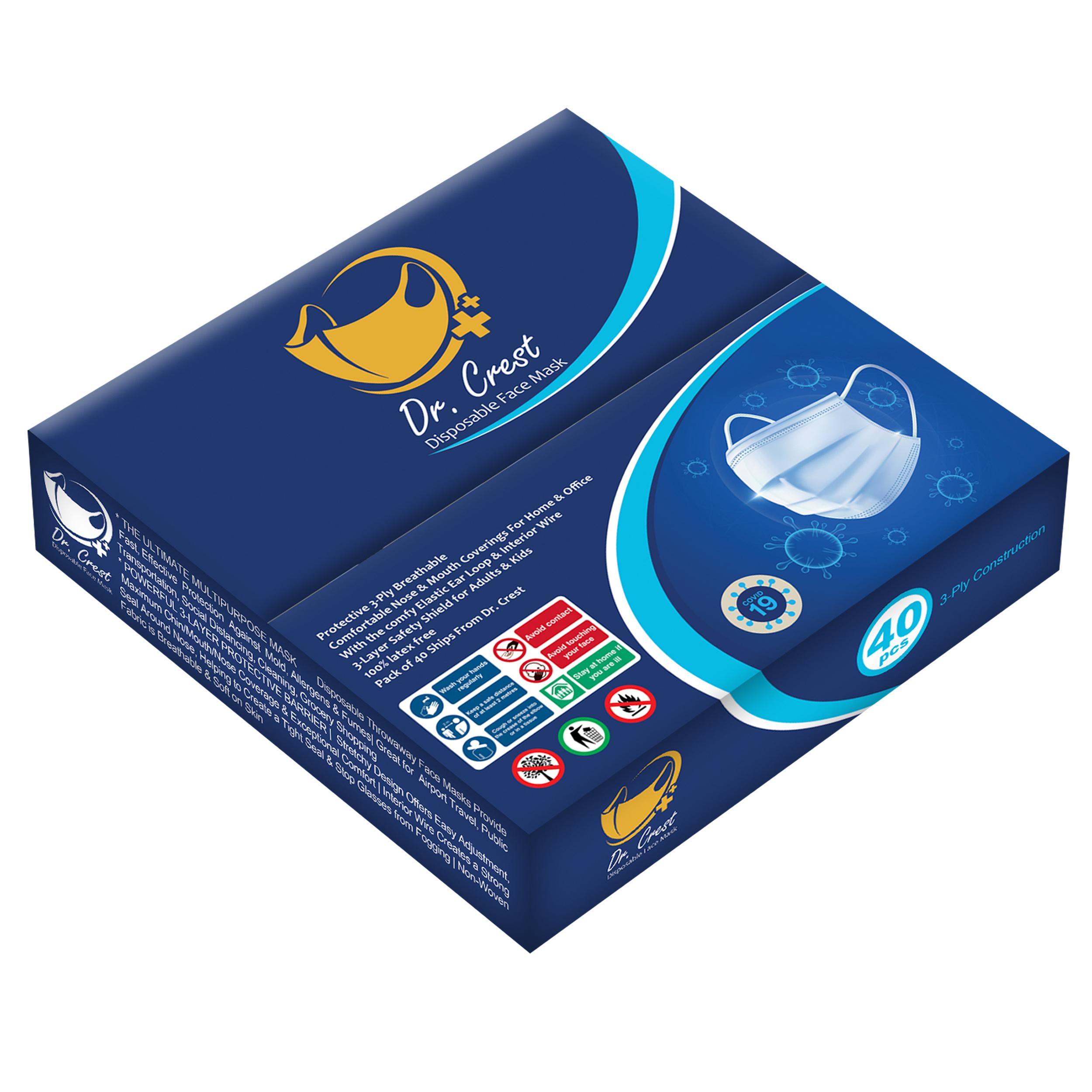 ماسک تنفسی دکتر کرست مدل Dr-G40 بسته 160 عددی ( 4 جعبه 40 عددی )