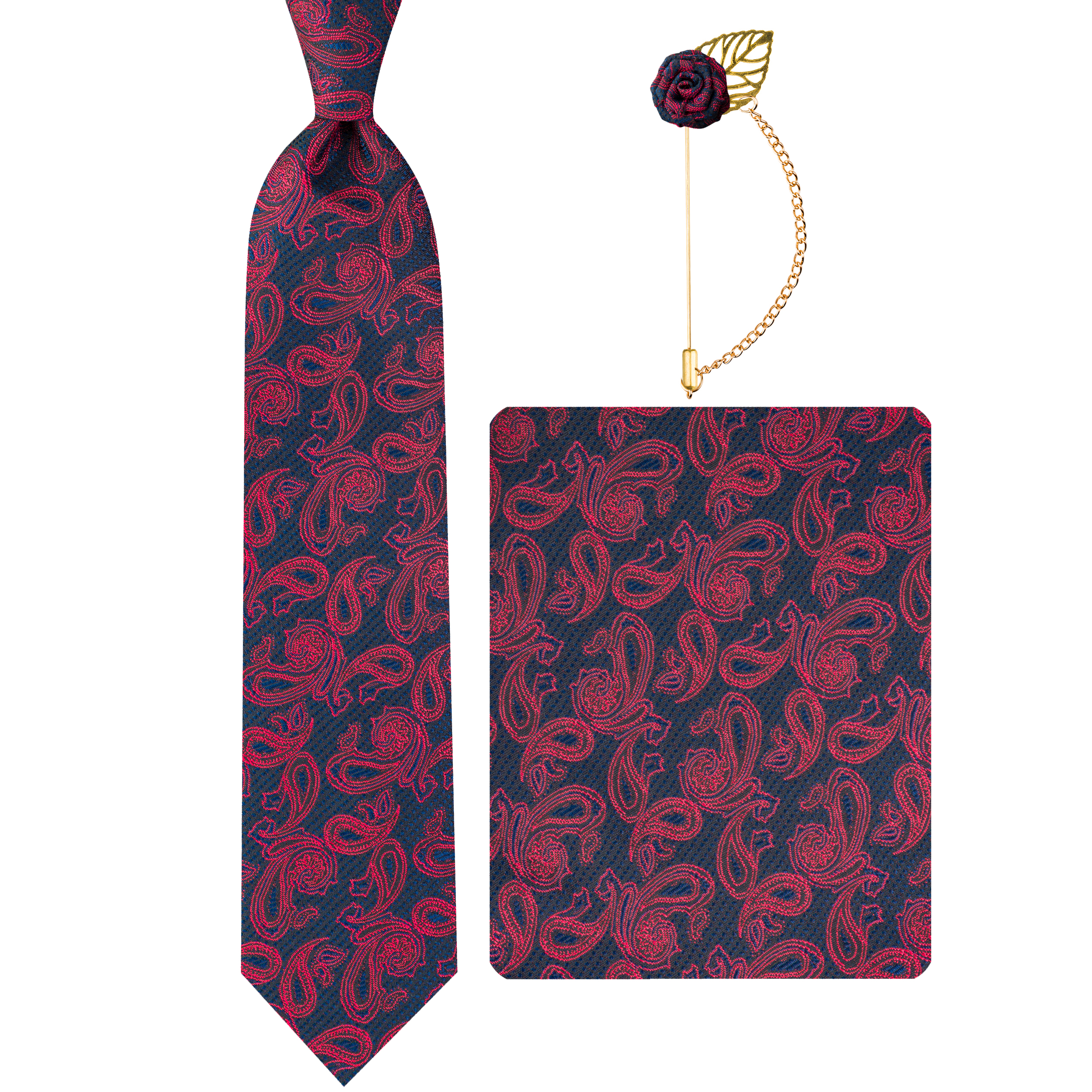 ست کراوات و دستمال جیب و گل یقه کت مردانه جیان فرانکو روسی مدل GF-PA978-BE