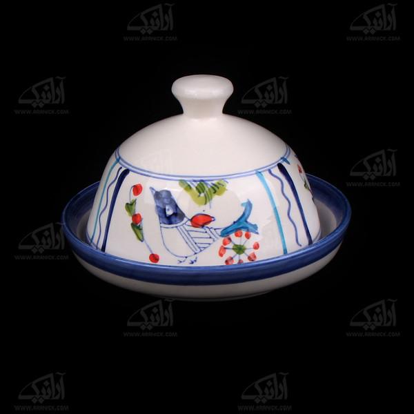 ظرف کره وپنیر سفالی نقاشی زیر لعابی سفید طرح پرنده مدل 1018300002