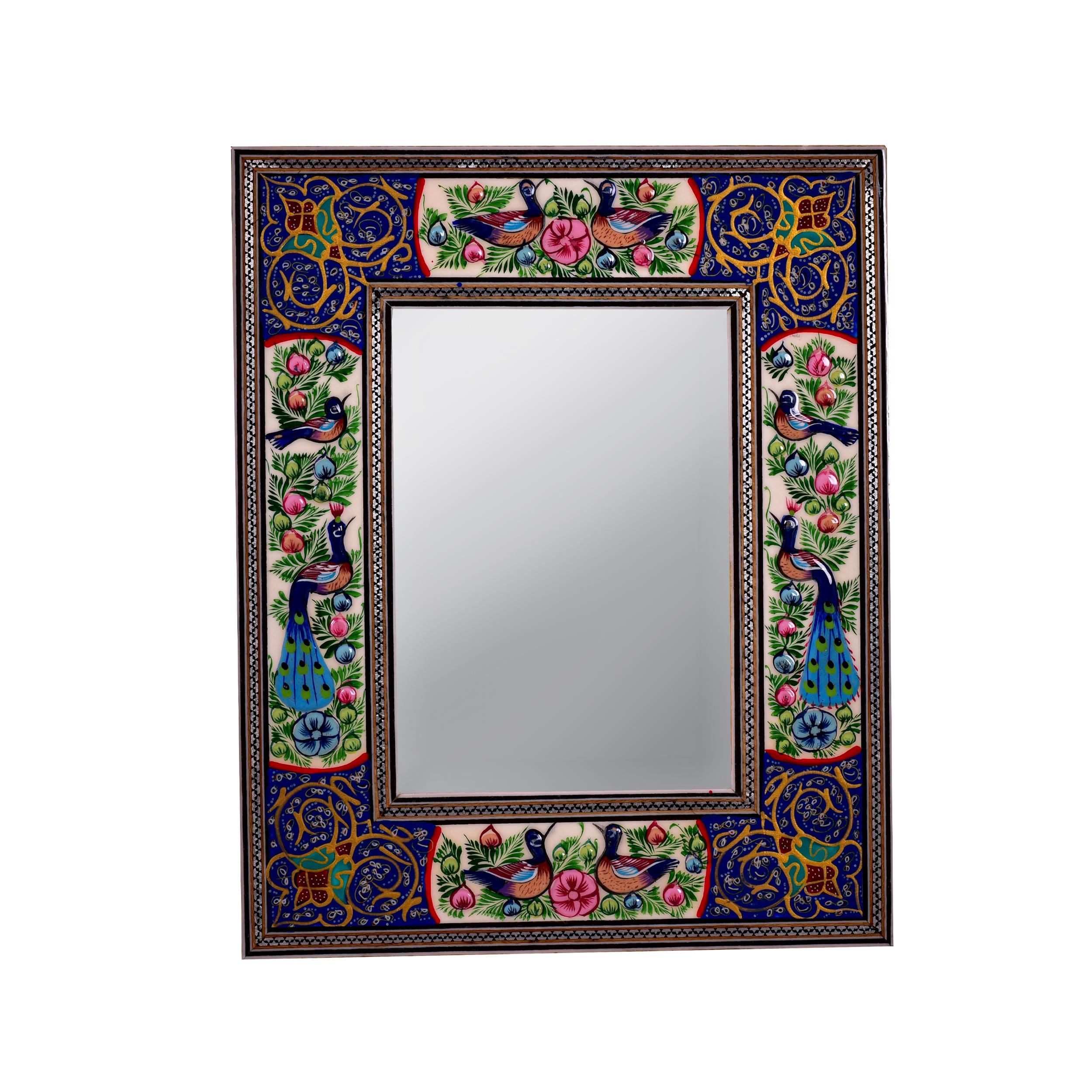 قاب آینه خاتم کاری مدل طاووس کد 2-1318