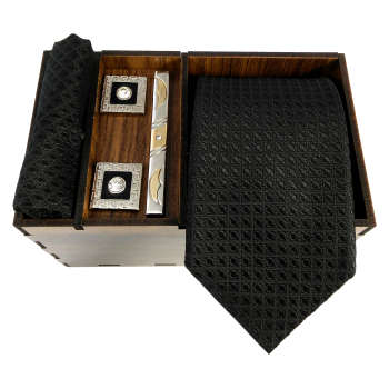 ست کراوات و گیره کراوات و دستمال جیب و دکمه سردست مردانه مدل 466
