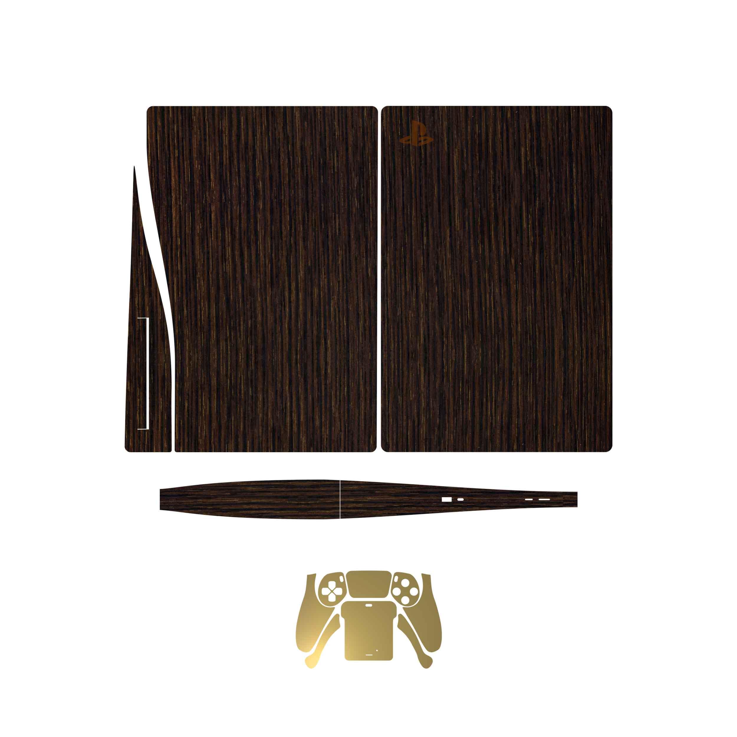 بررسی و {خرید با تخفیف}                                     برچسبکنسول و دستهبازی PS5ماهوت مدل  Dark Gold Stripes Wood MatteGold                             اصل