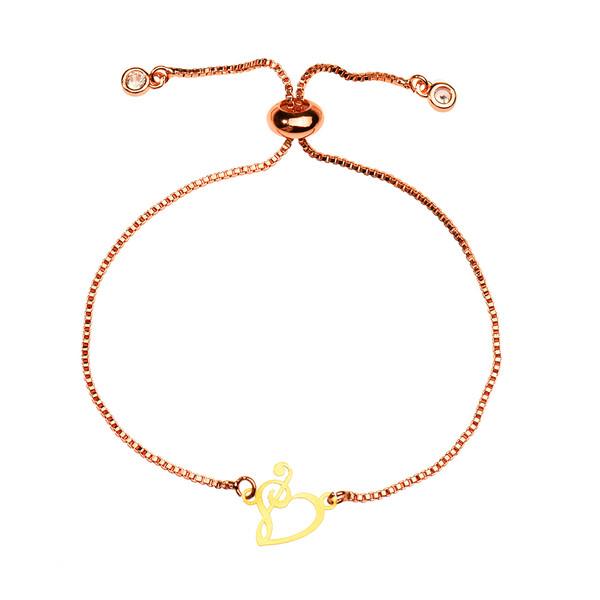 دستبند طلا 18 عیار دخترانه کرابو طرح قلب و کلید سل مدل Krd1060