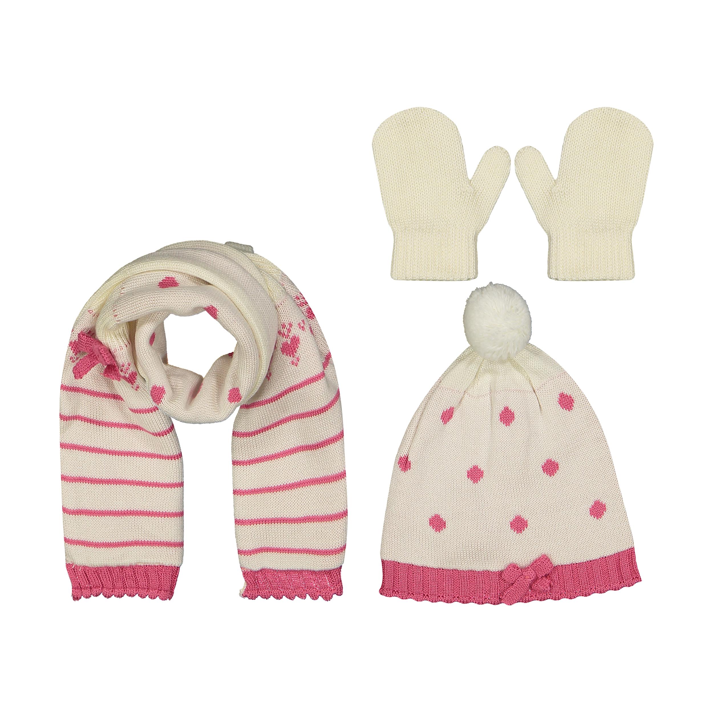ست کلاه و شال گردن و دستکش بافتنی نوزادی دخترانه فیورلا کد 2788