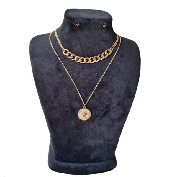 گردنبند زنانه استینلس استیل مدل سکه الیزابت زنجیری دو ردیفه