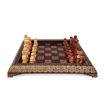 صفحه شطرنج خاتم کاری هنرلوکس مدل مربعی به همراه مهره