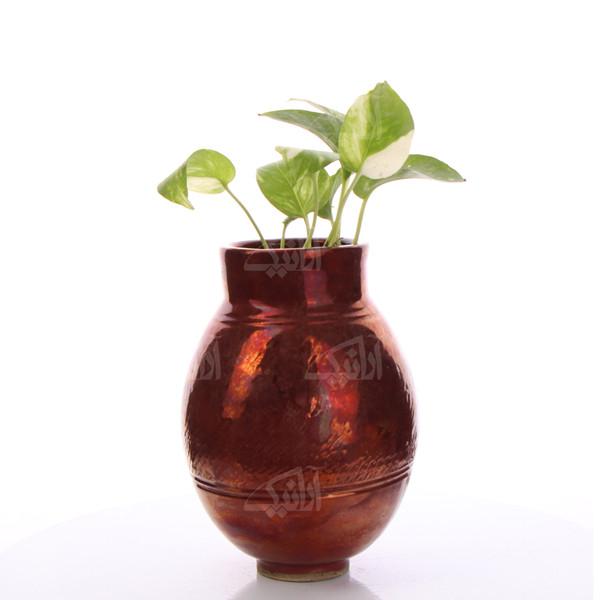 گلدان سفالی لعاب احیایی   مسی طرح دیبا  مدل 1015800040