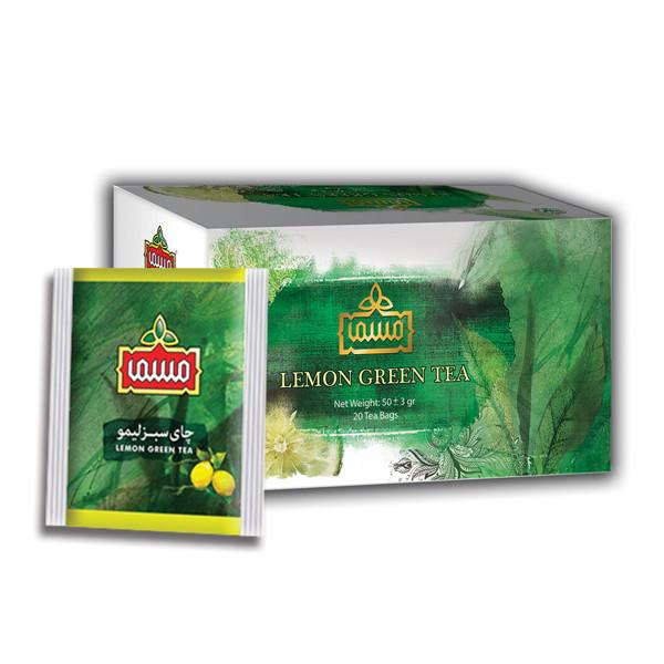 چای سبز کیسه ای ویژه با طعم لیمو مسما بسته 20 عددی