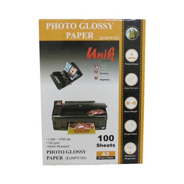 کاغذ چاپ عکس یونیک    مدل 5150    سایز A3   بسته 100عددی