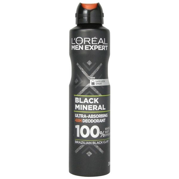 اسپری بدن مردانه لورآل مدل BLACK MINERAL حجم 250 میلی لیتر