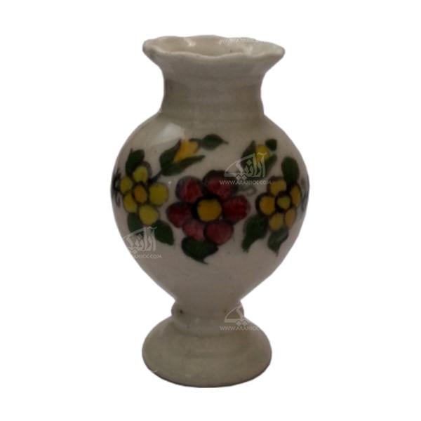 گلدان سفالی نقاشی رولعابی   سفید طرح گل بهاری  مدل 1015800017