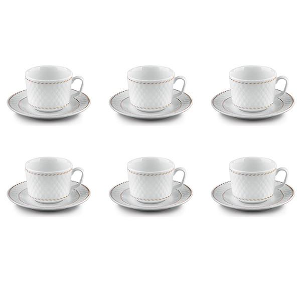 سرویس چای خوری 12 پارچه چینی زرین ایران سری رادیانس مدل میلانو درجه یک