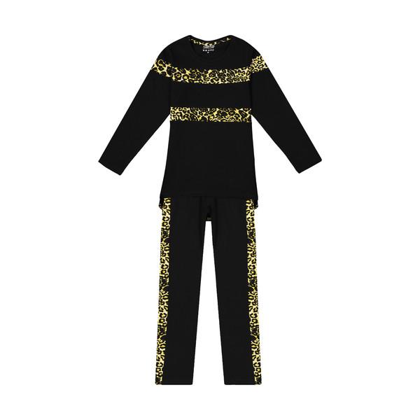 ست تی شرت و شلوار دخترانه طرح پلنگی کد 224
