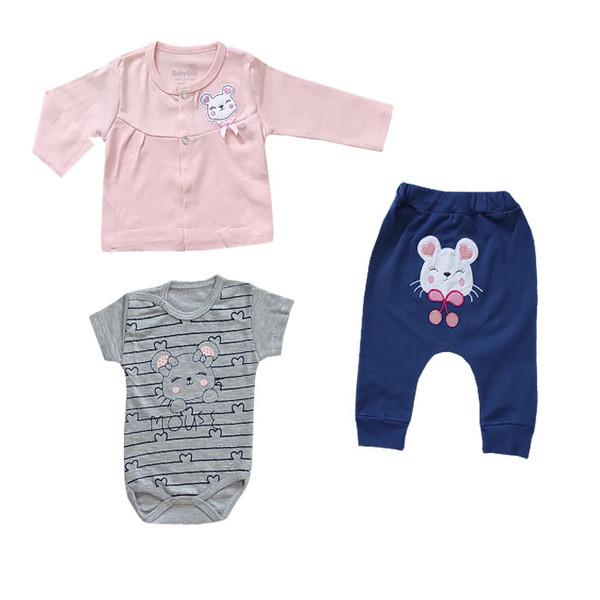 ست 3 تکه لباس نوزادی بی بی وان مدل موش کد 493