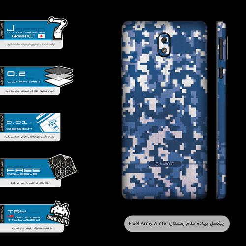 برچسب پوششی ماهوت مدل Army-Winter-Pixel-FullSkin مناسب برای گوشی موبایل نوکیا 1 Plus
