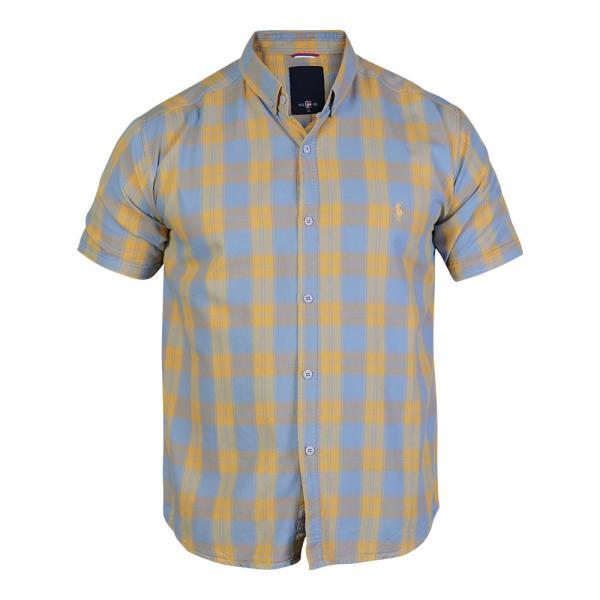 پیراهن آستین کوتاه مردانه پولو مدل چهارخانه رنگ زرد