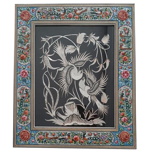 تابلو قلمزنی طرح گل و مرغ کد 001