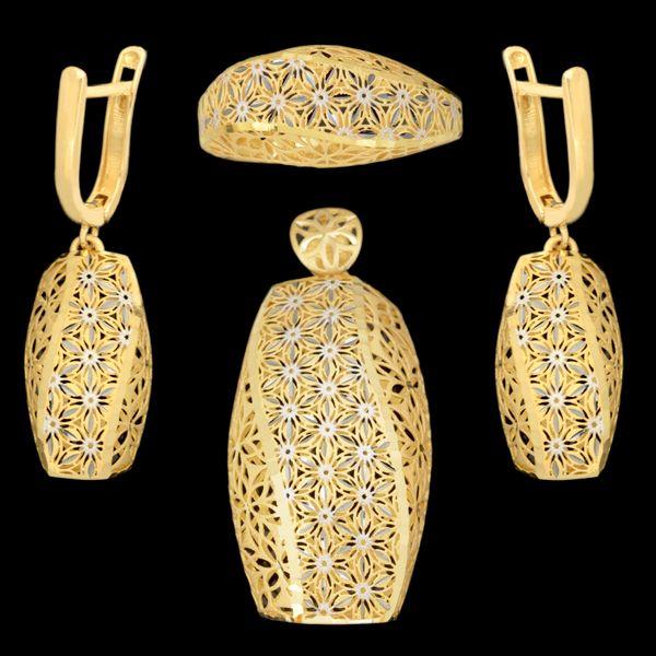 نیم ست طلا 18 عیار زنانه طلای مستجابی مدل آوا کد 67128