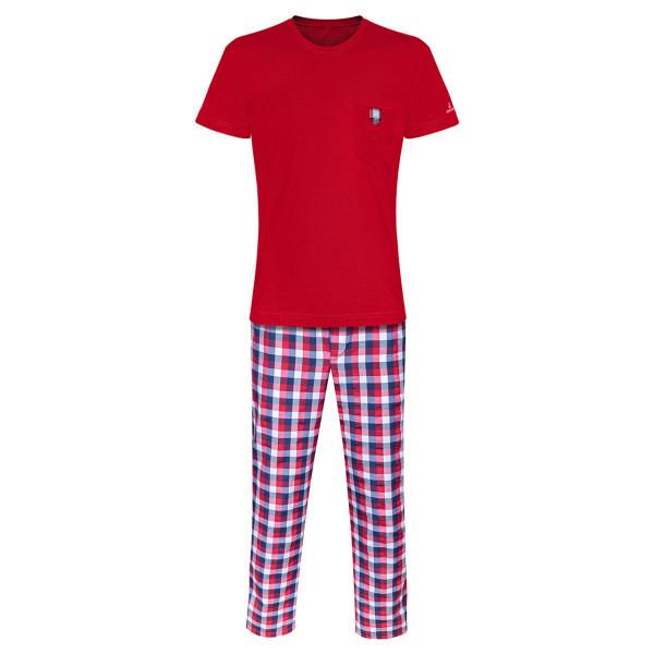 ست تی شرت و شلوار مردانه ساروک مدل STSHNJ110 -07 رنگ قرمز