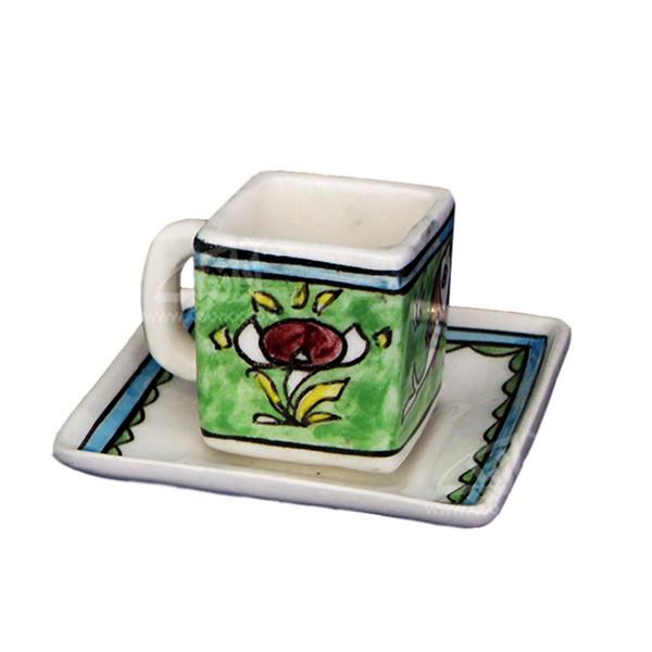 فنجان و نعلبکی سفالی نقاشی زیر لعابی سبز طرح گل مدل 1007800016