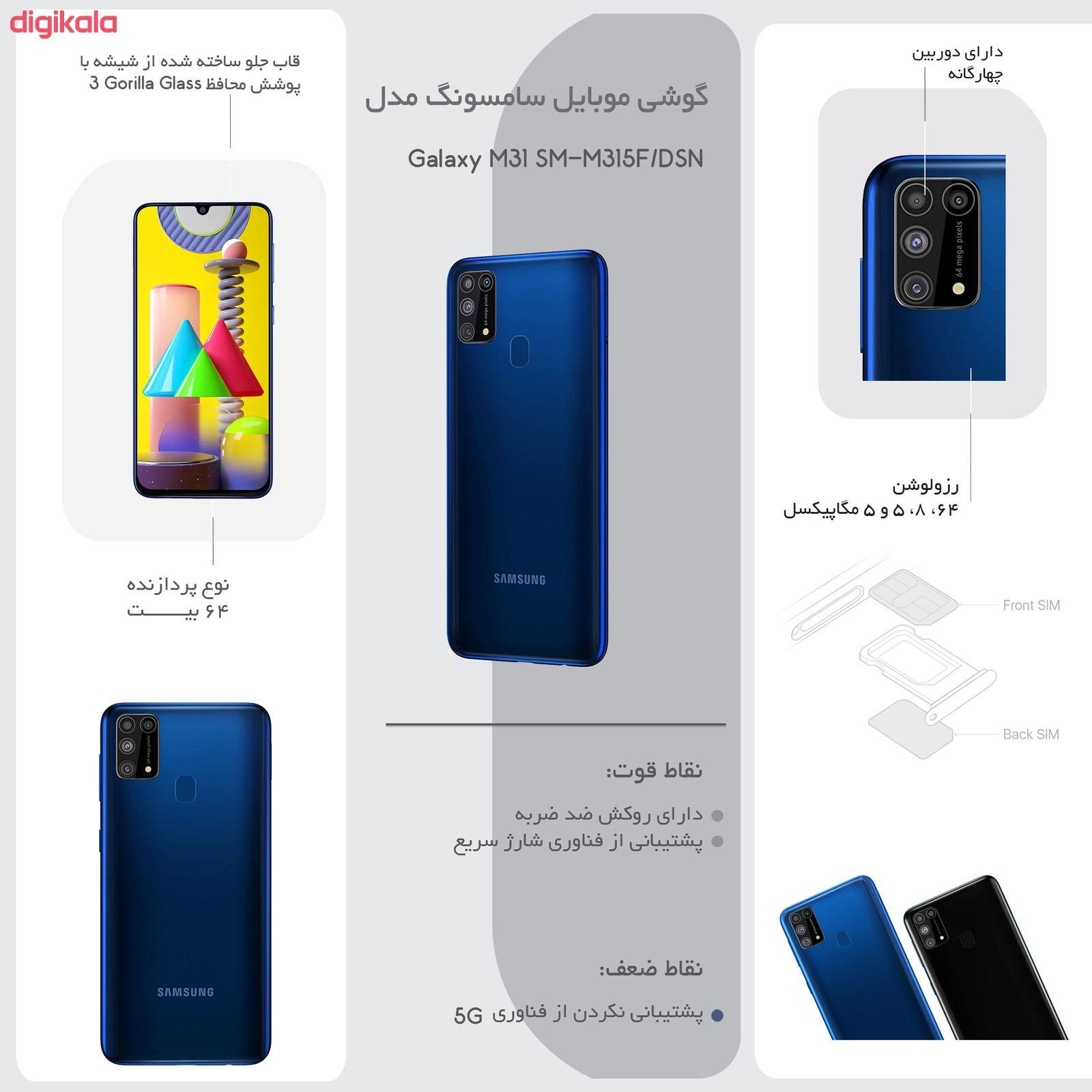 گوشی موبایل سامسونگ مدل Galaxy M31 SM-M315F/DSN دو سیم کارت ظرفیت 128گیگابایت  main 1 18
