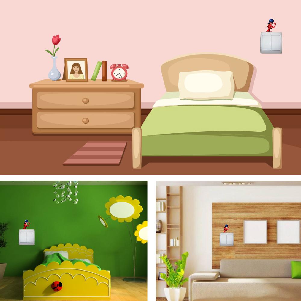 استیکر فراگراف کلید و پریز FG طرح دختر کفشدوزکی کد 0016 Ladybug