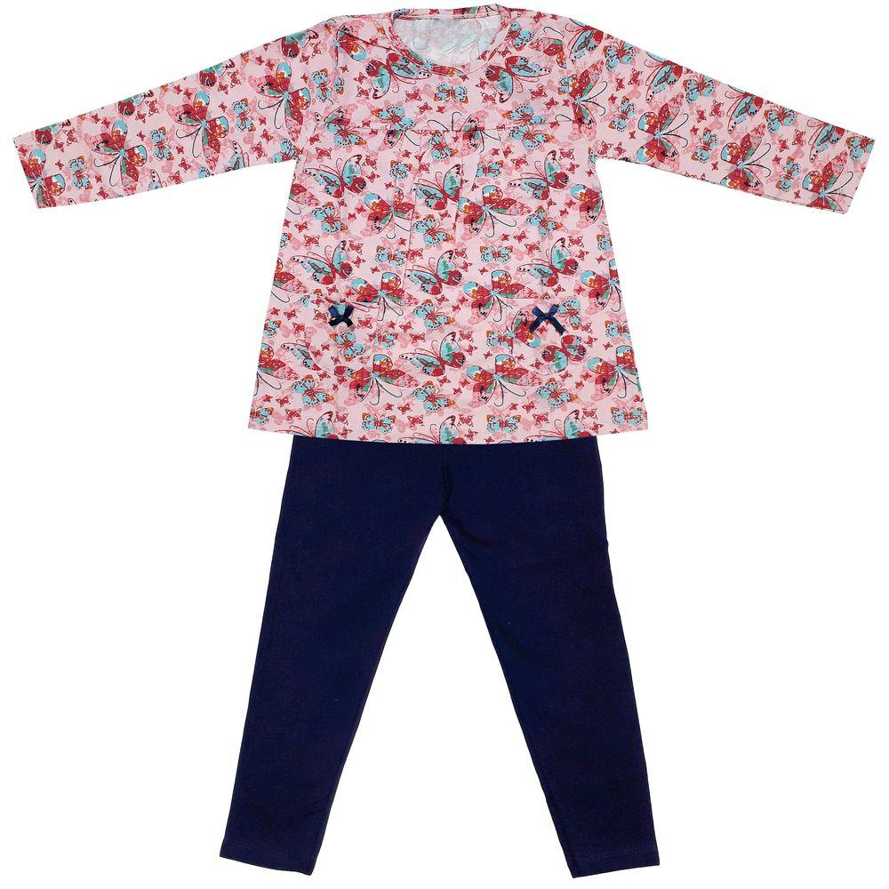 ست تی شرت و شلوار دخترانه طرح پروانه کد 3070 رنگ صورتی