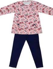 ست تی شرت و شلوار دخترانه طرح پروانه کد 3070 رنگ صورتی -  - 1