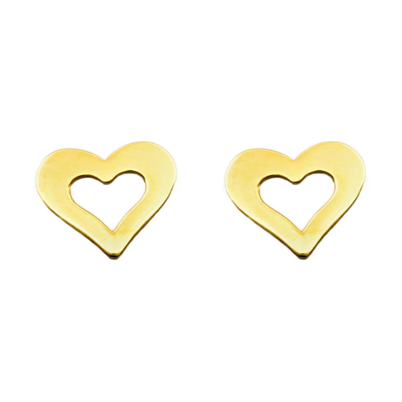گوشواره طلا 18 عیار زنانه کاپانی مدل قلب کد KE003