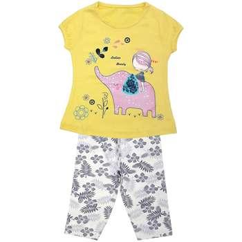 ست تی شرت و شلوارک دخترانه مدل دخترک فیل سوار کد 3292 رنگ زرد